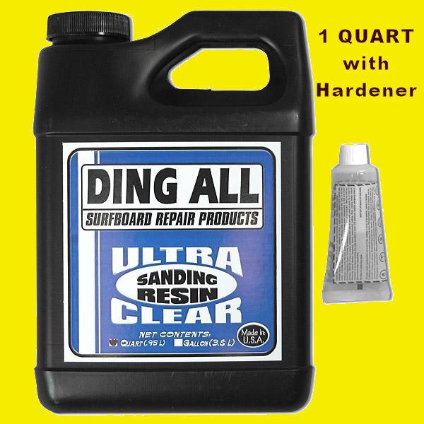 Ding All Polyester Sanding Resin w  Hardener 1 Quart SurfBoard repair fix build