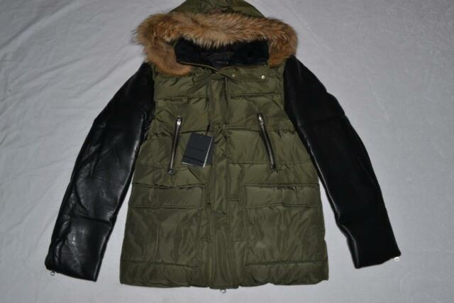 1341dc00009b AUTHENTIC MACKAGE GAVIN ARMY DOWN COAT WITH LEATHER SLEEVES SIZE 42 ...
