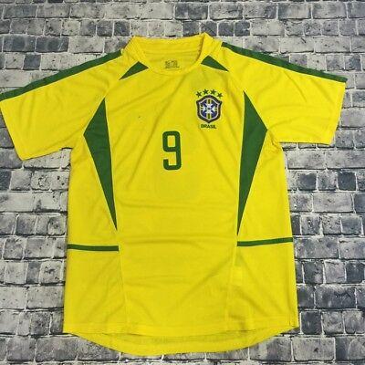 Ronaldo 2002 World Cup Brazil Football Soccer Home Yellow Jersey Shirt