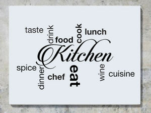 Kitchen Words Taste Drink Food Cook Eat Dinner Wine Wall Decal Sticker Picture