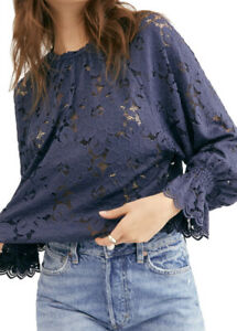 New-FREE-PEOPLE-Olivia-Lace-Tee-L-Top-Blouse-Balloon-Sleeve-Navy-Blue-Sheer-NWT
