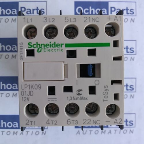 SCHNEIDER ELECTRIC LP1K0901JD CONTACTOR 3P AC3 440V 9A 1NC AUX 12V DC COIL