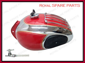 Royal-Enfield-Chrome-Red-Petrol-Tank-With-Grill-and-Knee-Pad