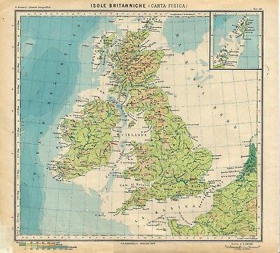 Cartina Geografica Politica Gran Bretagna.Carta Geografica Antica Gran Bretagna Irlanda Fisica Paravia 1941 Antique Map Ebay