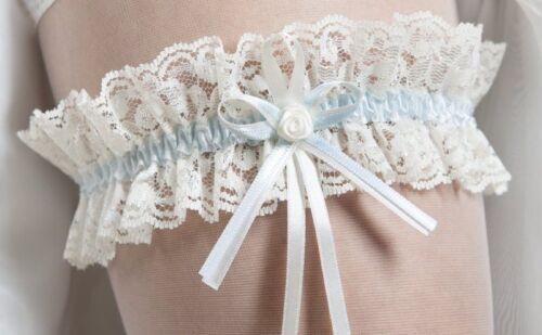blau Hochzeit Braut  NEU! creme ivory Strumpfband   Spitze weiss
