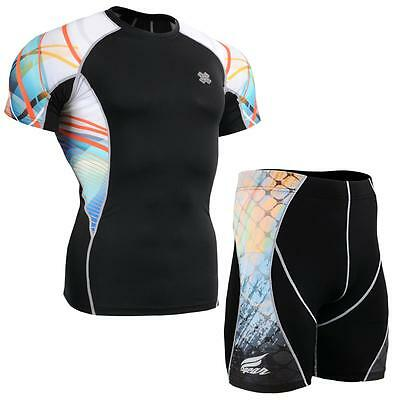 FIXGEAR C2S/P2S-B49 SET Compression Shirts & Shorts Skin-tight MMA Training Gym