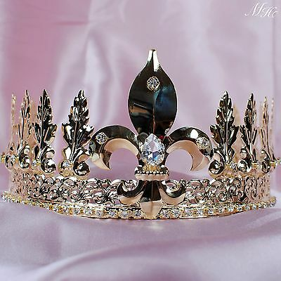 King Prince Tiara Imperial Medieval Crown Crystal Pageant Party Costumes For Men