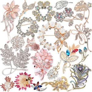 Damen-Kristall-Strass-Mix-Anstecknadel-Blumen-Brosche-Brautschmuck-Pin-Brooch