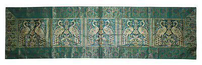 """Indian Silk Table Runner Tapestry Brocade Peacock Party Green Table Cloth 60x16"""""""