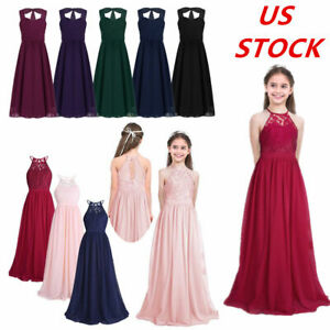 US Floral Lace Princess Dress Pageant Wedding Bridesmaid Party Long Sleeve Maxi