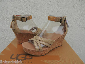 ad8bef3aa9a Details about UGG LILLIE METALLIC CHESTNUT/ GOLD STRAPPY WEDGE HEELS, US  6.5/ EUR 37.5 ~ NIB