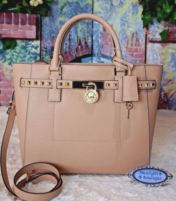 bc0f51c62250 NWT MICHAEL KORS HAMILTON TRAVELER STUD LG Satchel Tote Bag OYSTER Leather  $498