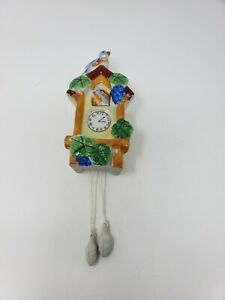 Vintage-Bird-House-Cuckoo-Clock-Wall-Pocket-Planter-Vase-Made-In-Japan-yellow-6-034