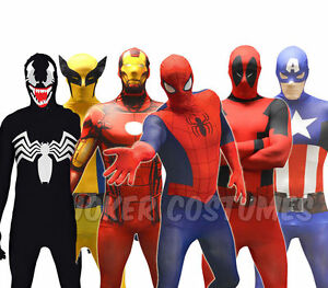 Morphsuit-Costume-Supereroe-Marvel-Deadpool-Spiderman-CPT-AMERICA-Zentai-Tuta