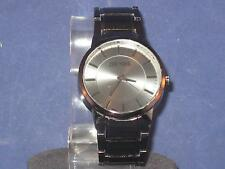 MEN'S ZOO YORK WATCH BLACK FACE, HANDS,NUMBER MARKS & STAINLESS STEEL BAND.P211