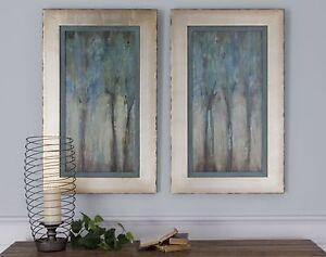 Forest Wall Art modern aqua blue forest wall art panels | silver framed turquoise