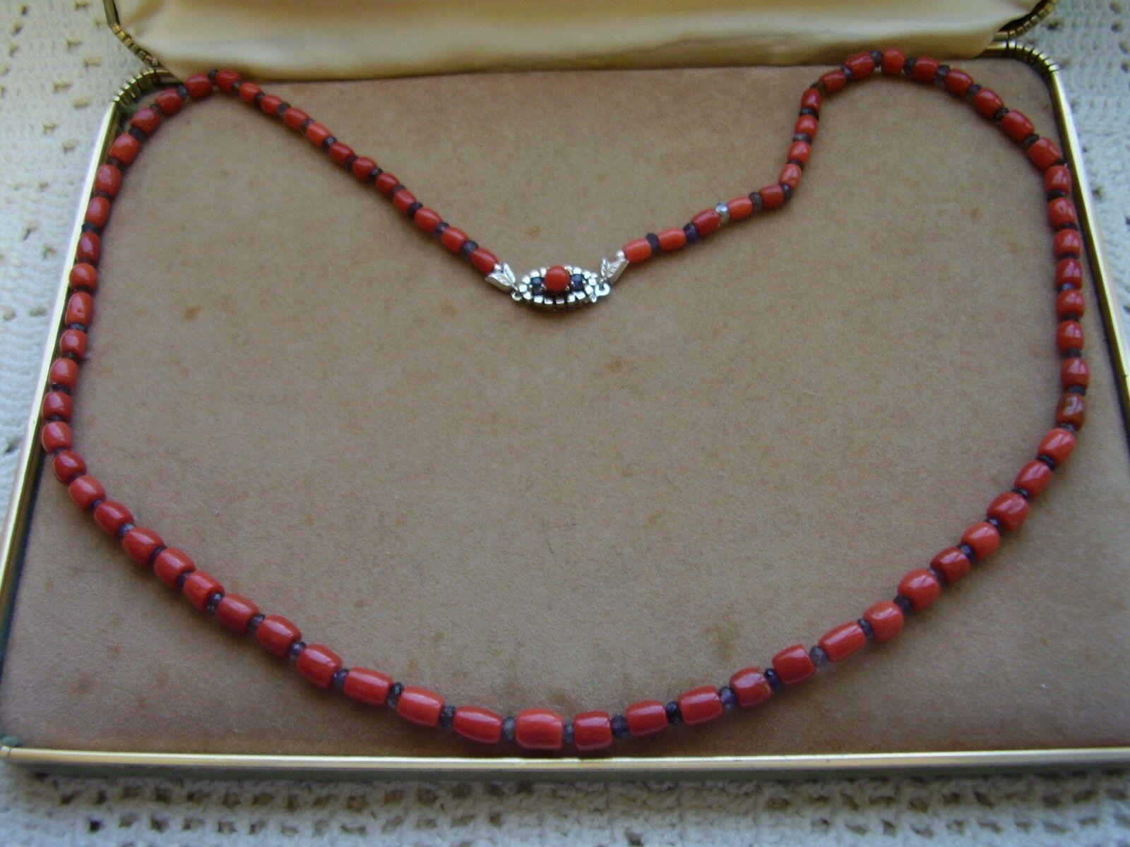 Collana 1filo a a a scalare barilotti corallo rosso sardo rondelle zaffiri oro 585 29f7d6