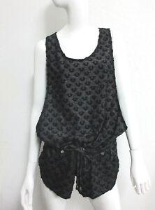 NWT-True-Religion-Swimwear-Women-039-s-Short-Sleeveless-Romper-Black-Grey-Sz-MEDIUM