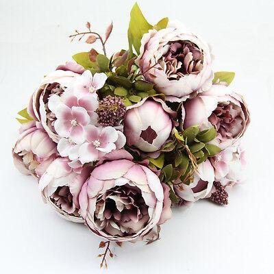 Artificial Bouquet 10 Head Peony Silk Flower Fake Leaf Home Wedding Party Decor