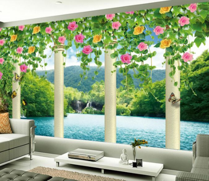 3D Mountain Flower Colum Paper Wall Print Decal Wall Wall Murals AJ WALLPAPER GB