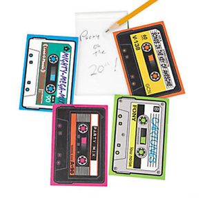 Pack-of-12-Retro-80s-Cassette-Shaped-Notepads-Party-Bags-Favours-Fillers