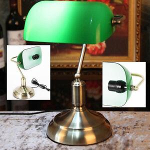 Tischlampe-Lampe-Jugendstil-Antik-Bankerlampe-Schreibtischlampe-Messing-Gruen-HOT