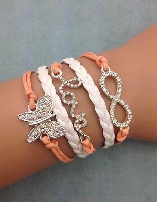 Bracelet  papillon en strass et lien infini en strass Top tendance