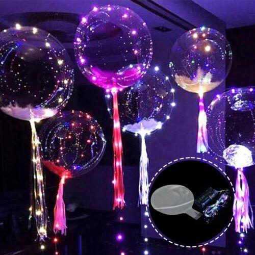 20inch Luminous Led Balloon Transparent Round Bubble Christmas Decor /& LED Rope