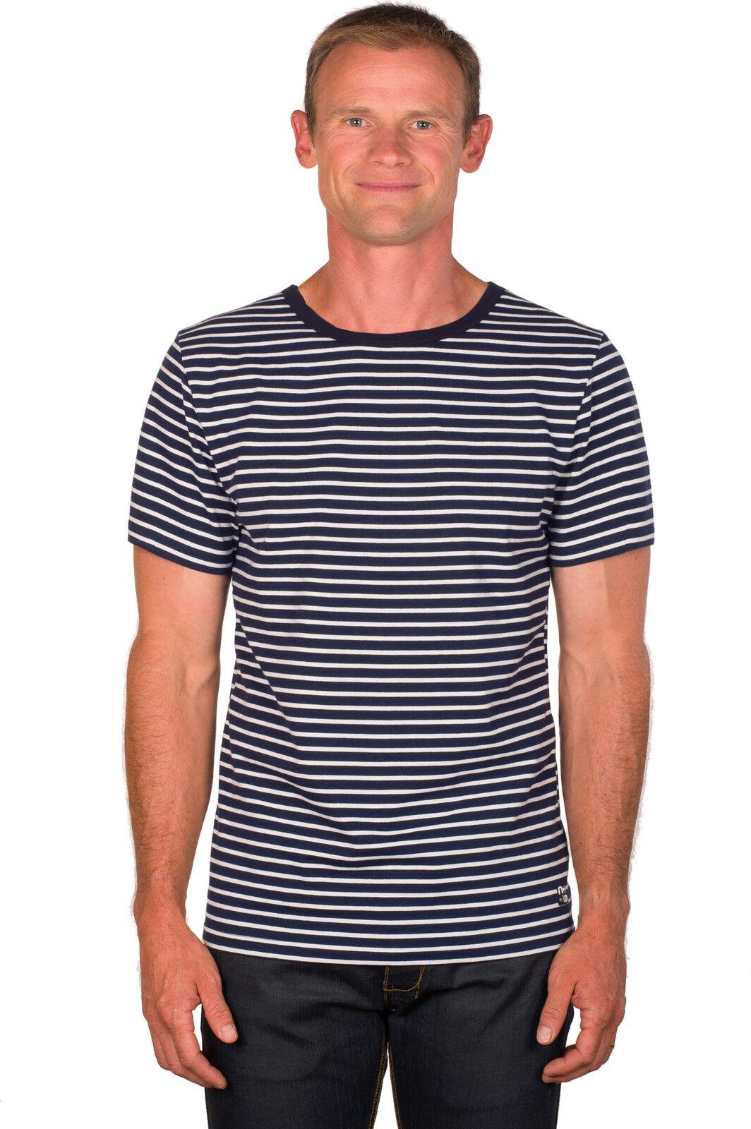 Ugholin Herren Baumwolle Blau und Weiß Gestreiften Kurzarm T-Shirt