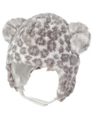 GYMBOREE CUDDLE CLUB GRAY LEOPARD FUR TRAPPER HAT 6 12 NWT