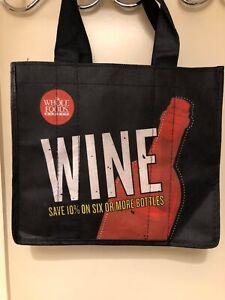 Details About Whole Foods Wine Tote Bag 6 Bottle Carrier Holder Black New