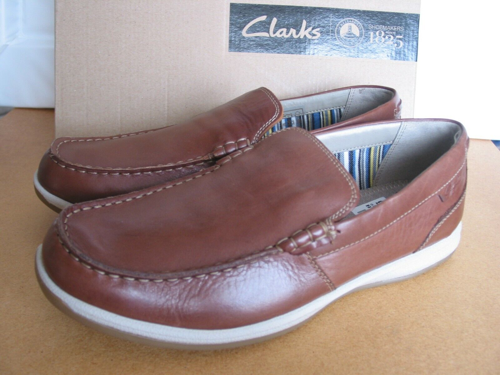 NEW CLARKS FALLSTON STEP CUSHION SOFT ORTHOLITE BROWN LEATHER SHOES UK 8.5