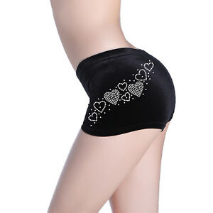 Varsany Heart Lace Diamante Dance gymnastics Black Shorts Stretch Velvet Ballet
