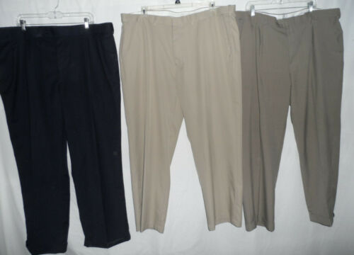 Khaki Taupe Brown 42 x 30 Comfort Expandable Stretched Waist Dress Casual Pants
