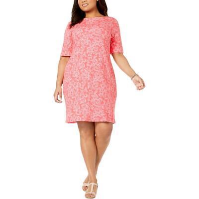 Karen Scott Plus Size Short Sleeve Cotton Floral-Print T-shirt Dress NWT 1X