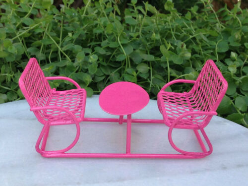 Miniature Dollhouse FAIRY GARDEN Furniture ~ Micro Mini Bright Pink Table Bench