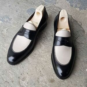 Handmade men two tone Leather formal