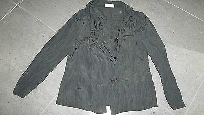 Blazer Jacke Von Doris Streich Gr. 42 44 Schwarz Knitteroptik