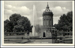 MANNHEIM-1954-Bedarfspost-AK-Partie-am-Wasserturm