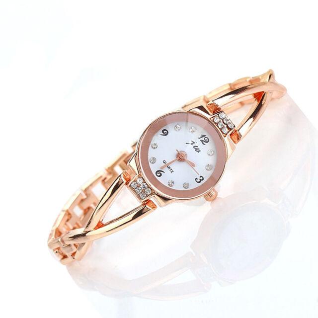 Elegant OL Ladies Womens Bangle Rose Gold Diamante Chain Bracelet Wrist Watch