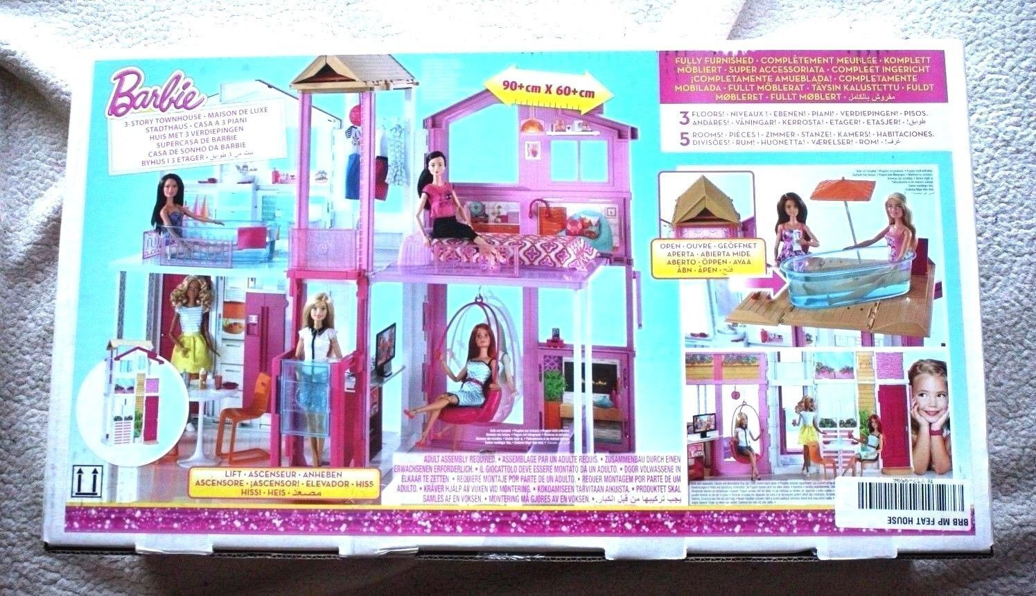 VERY RARE BARBIE 3-STORY TOWNHOUSE  3 FLOORS, 5 ROOMS, 90x60 CMs  BRAND NEW
