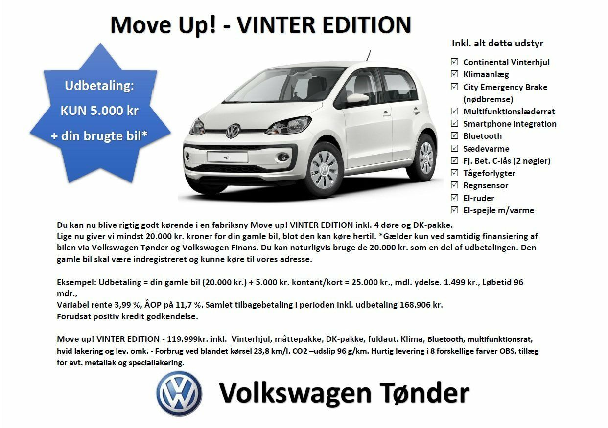 VW Up! 1,0 MPi 60 Move Up! BMT 5d - 119.999 kr.