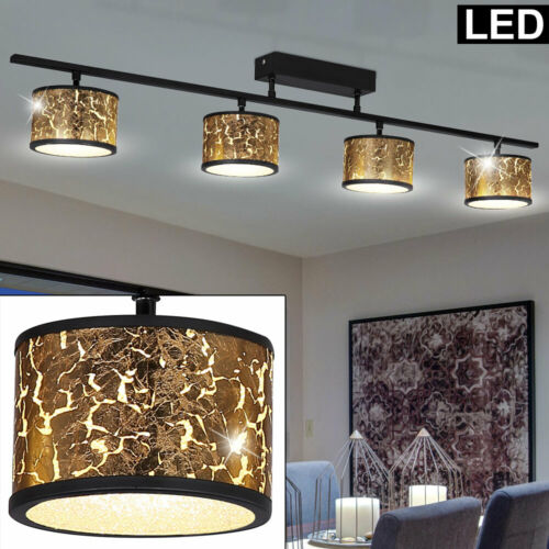 LED Design Decken Strahler Lampe Kristall Leuchte Glas Spot Leiste SCHWARZ GOLD