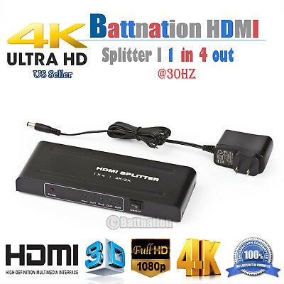 1080p 4K Full HD HDMI Splitter Amplifier Repeater Female Switch Box 1x4  Port | eBay