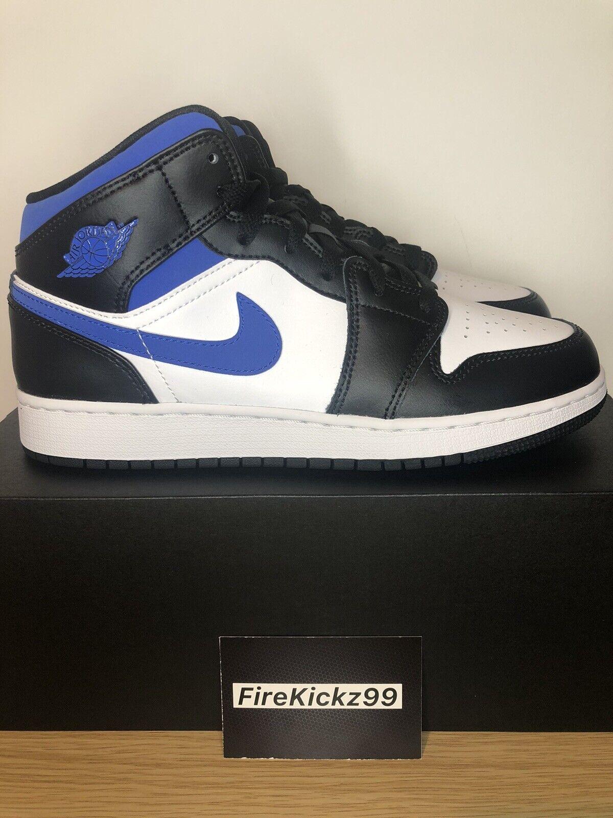 Nike Air Jordan 1 Mid White Royal Racer Blue Black GS Size UK 5.5 / US 6Y (5)