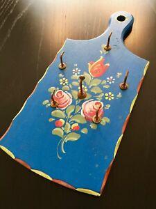 Altes Schlüsselbrett Blumen Rosen Bauernmalerei Hakenleiste Handarbeit
