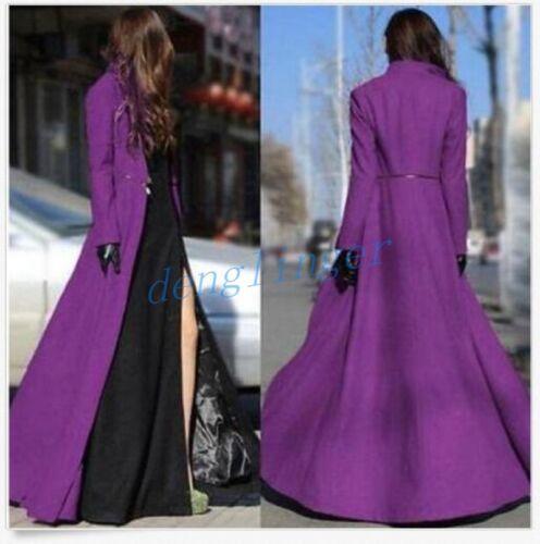 Womens Elegent Wool Blend Slim Fit Jackets Floor Length Winter Dress Long Coats