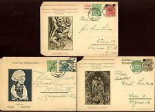 POLAND 1934-35 ILLUSTRATED STATIONERY UPRATED...3 ITEMS