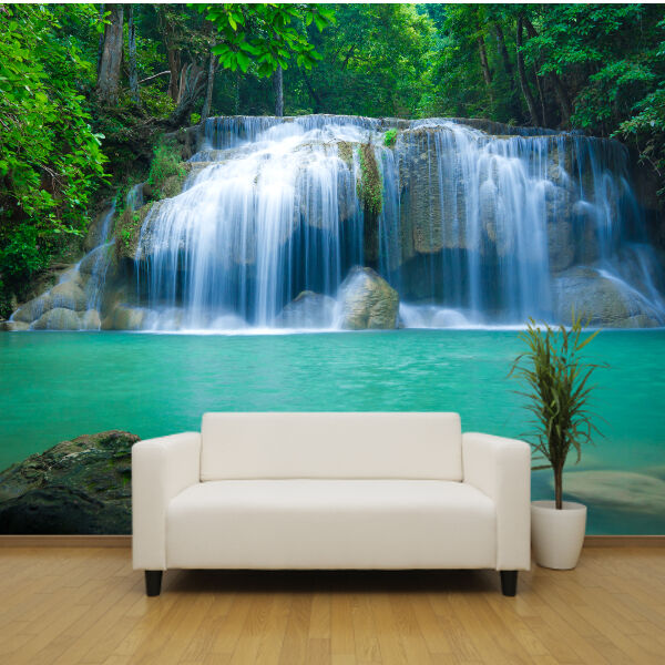 Stunning waterfall with crystal blue water wallpaper mural design wm057