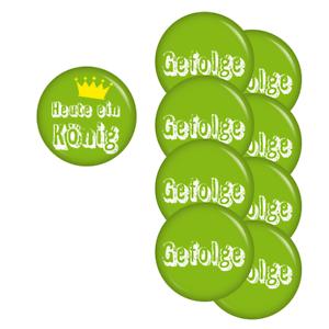 Heute ein König-Gefolge-Set 37mm Buttons Ansteckbutton Jungg... Kiwikatze® JGA